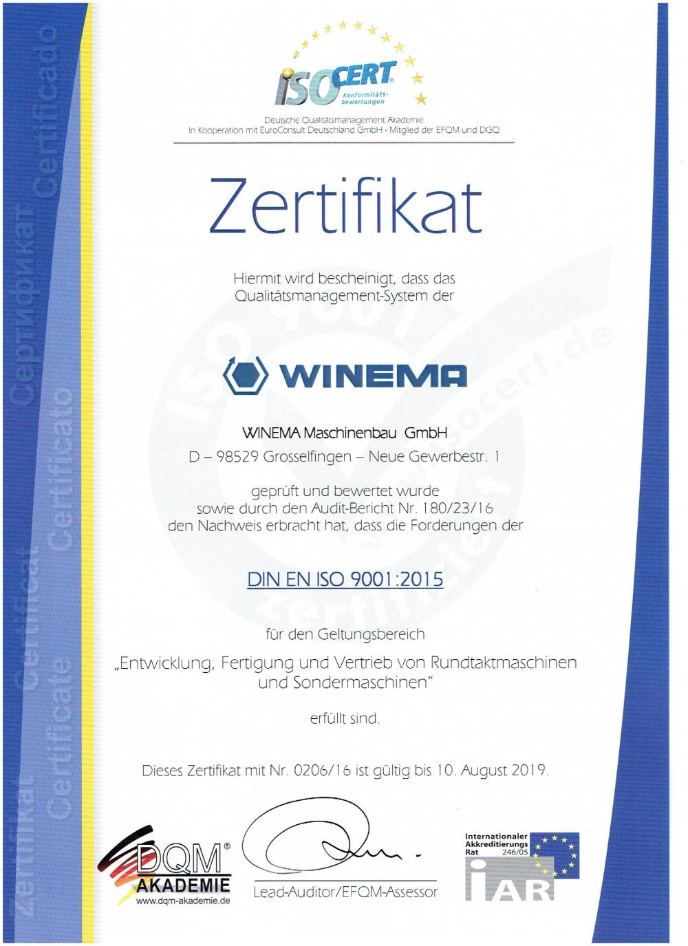 Überprüfungsaudit nach DIN EN ISO 9001:2015 erfolgreich durchgeführt